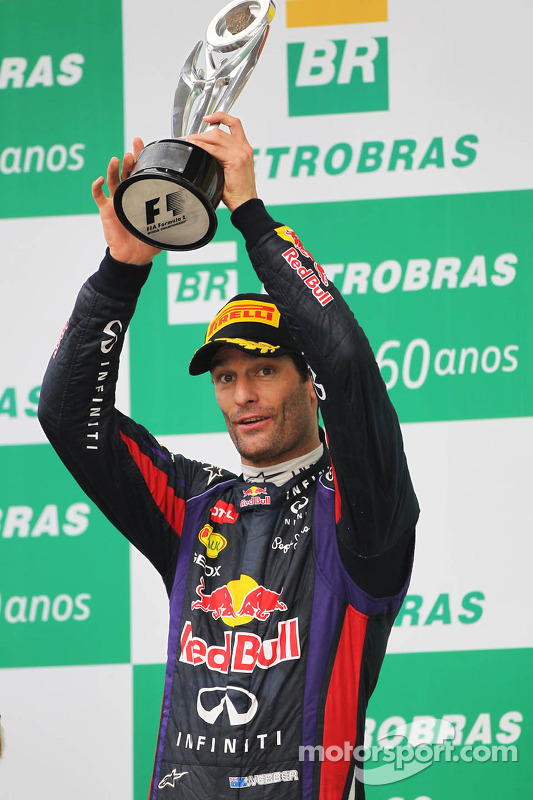 Mark Webber, Red Bull Racing comemora sua segunda posição e final GP no pódio