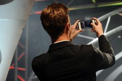 K&N Pro Series East champion Dylan Kwasniewski takes a self portrait on stage