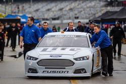 Car of Brad Keselowski, Team Penske Ford rolled to tech inspection