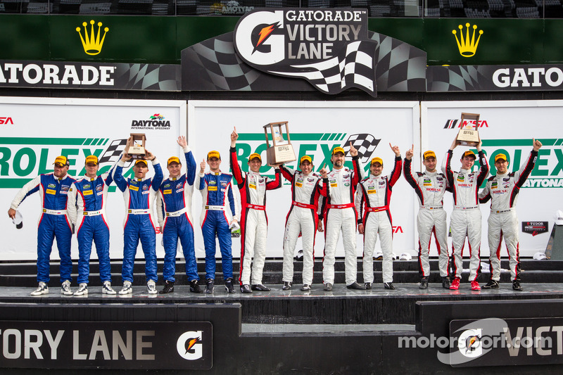 GTD podio: vincitori di classe Nelson Canache, Spencer Pumpelly, Tim Pappas, Markus Winkelhock, seco