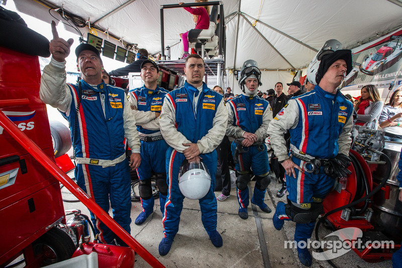 End of the race tension: Action Express Racing team members watch the last minutes of the race at th