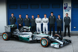 Paddy Lowe, Mercedes AMG F1 Executive Technical Director, Lewis Hamilton, Mercedes AMG F1; Nico Rosberg, Mercedes AMG F1 and Toto Wolff, Mercedes AMG F1 Shareholder and Executive Director, at the unveiling of the new Mercedes AMG F1 W05
