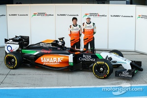 Nico Hulkenberg and Sergio Perez unveil the Sahara Force India F1 VJM07