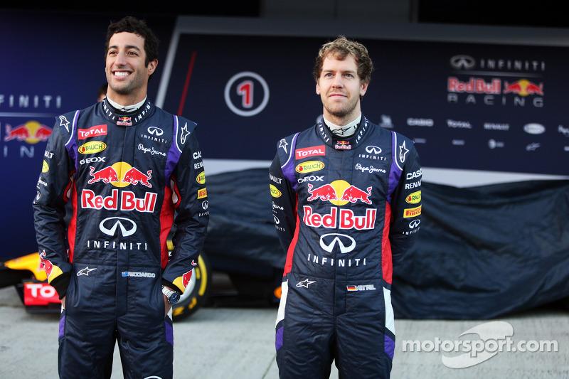(L to R): Daniel Ricciardo, Red Bull Racing and team mate Sebastian Vettel, Red Bull Racing at the u