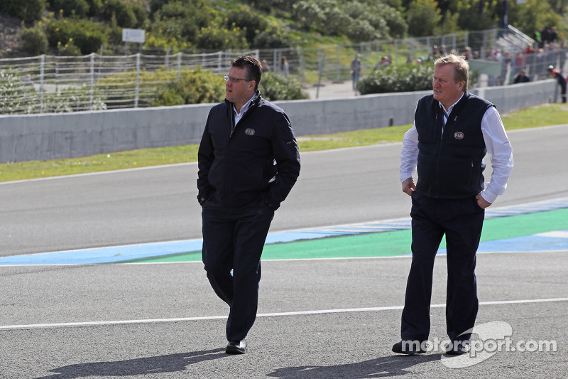 FIA Delegates inspect the first corner after Lewis Hamilton, Mercedes AMG F1 crashed