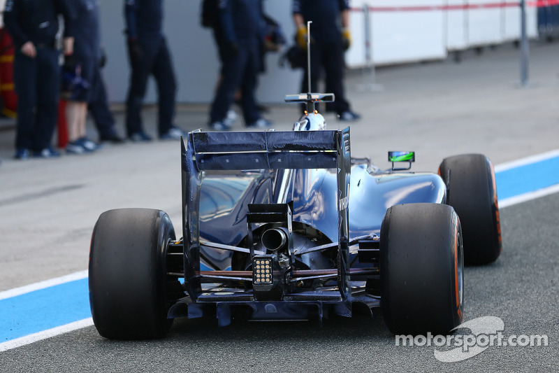 Felipe Massa, Williams FW36 running flow-vis paint on the rear wing and rear diffuser