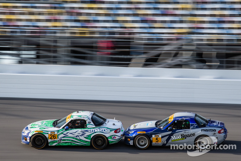 #26 Freedom Autosport Mazda MX-5: Randy Pobst, Andrew Carbonell, #5 CJ Wilson Racing Mazda MX-5: Stevan McAleer, Chad McCumbee