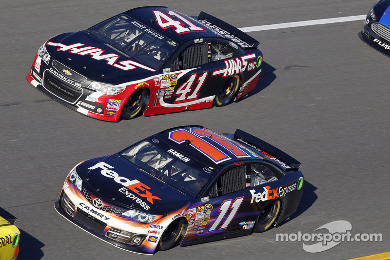 Denny Hamlin, Joe Gibbs Racing Toyota and Kurt Busch, Stewart-Haas Racing Chevrolet