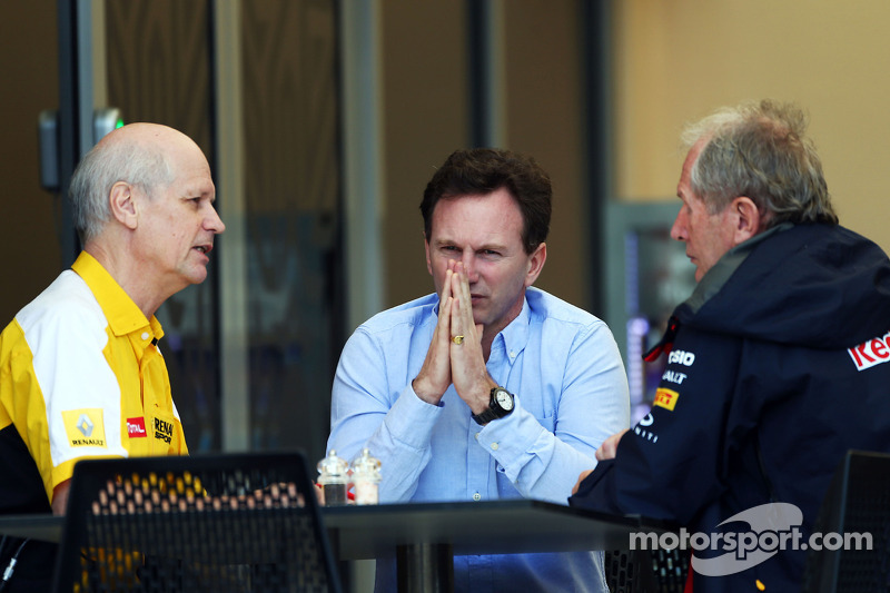 (L to R): Jean-Michel Jalinier, Renault F1 Sport President and Managing Director with Christian Horner, Red Bull Racing Team Principal and Dr Helmut Marko, Red Bull Motorsport Consultant