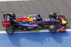 Daniel Ricciardo, Red Bull Racing RB10 akışı gösteren boyayla birlikte