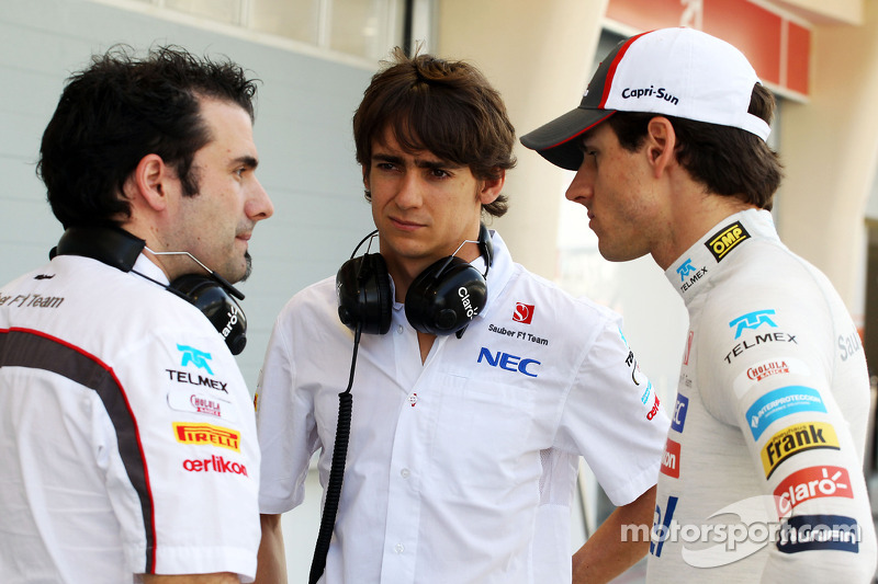 Esteban Gutierrez, Sauber, and team mate Adrian Sutil, Sauber