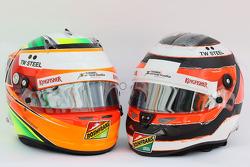 (L to R): The helmets of Sergio Perez, Sahara Force India F1 and team mate Nico Hulkenberg, Sahara Force India F1