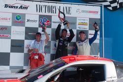 RJ Lopez, Simon Gregg and Cliff Ebben celebrate on the podium