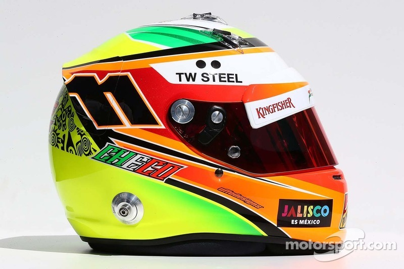 Il casco di Sergio Perez, Sahara Force India F1