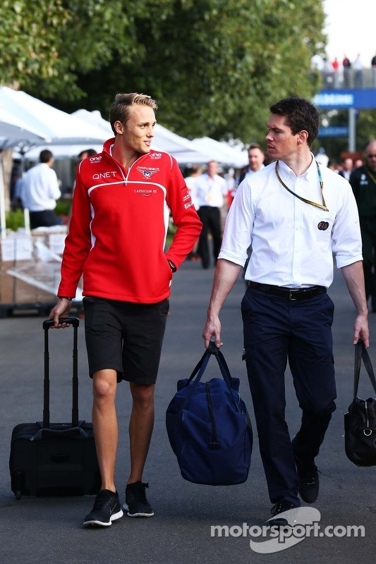 (L to R): Max Chilton, Marussia F1 Team with Alan Van Der Merwe, FIA Medical Car Driver