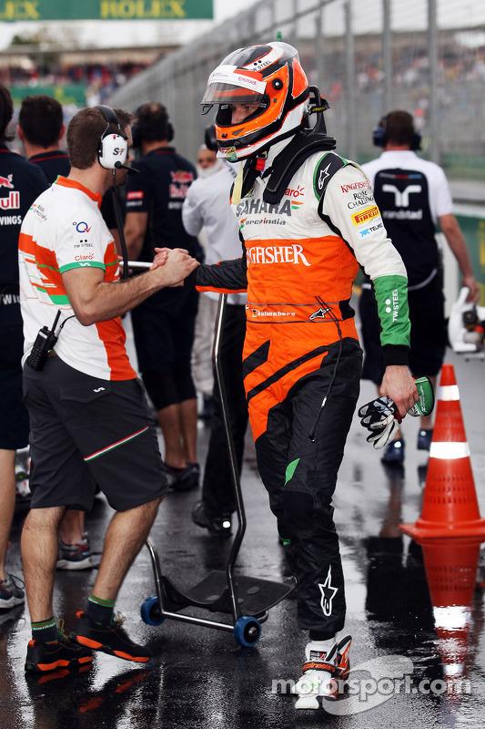Nico Hulkenberg, Sahara Force India F1, comemora em parque fechado