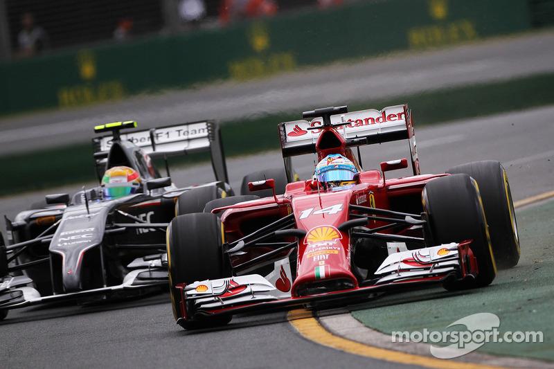 Fernando Alonso, Ferrari F14-T ve Esteban Gutierrez, Sauber C33
