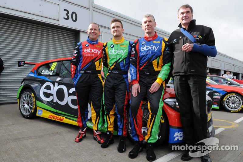 eBay Motors trio Rob Collard, Colin Turkington e Nick Foster con il boss Dick Bennetts