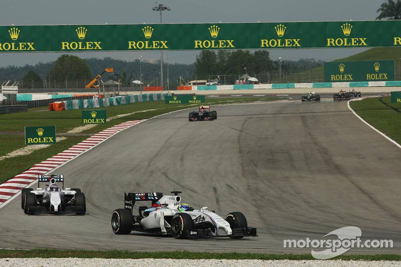 Felipe Massa, Williams FW36 leads team mate Valtteri Bottas, Williams FW36