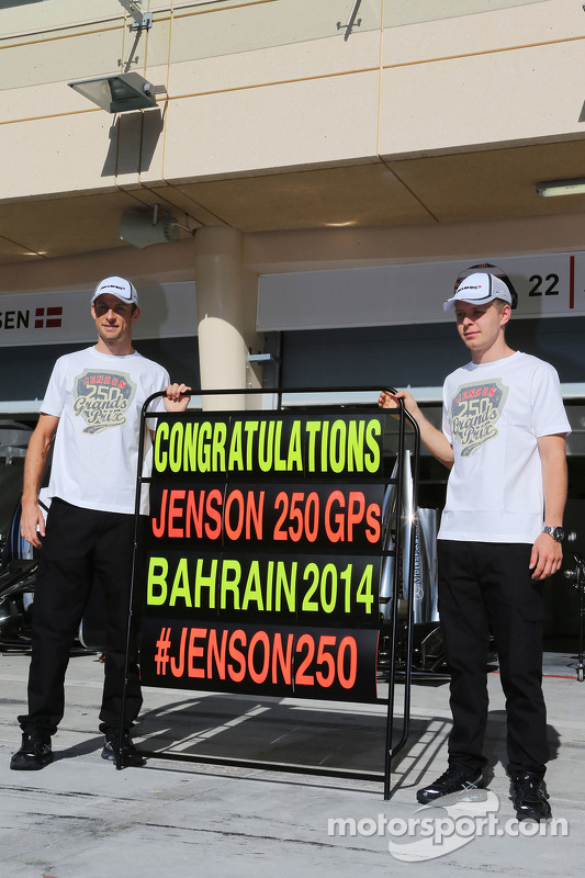 (L to R): Jenson Button, McLaren celebrates his 250th GP with team mate Kevin Magnussen, McLaren