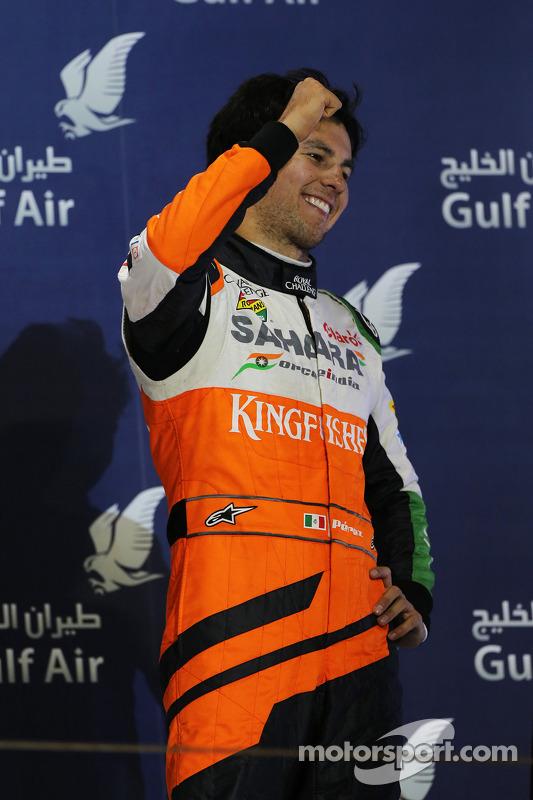 Sergio Perez, Sahara Force India F1 celebra sua terceira posição no pódio