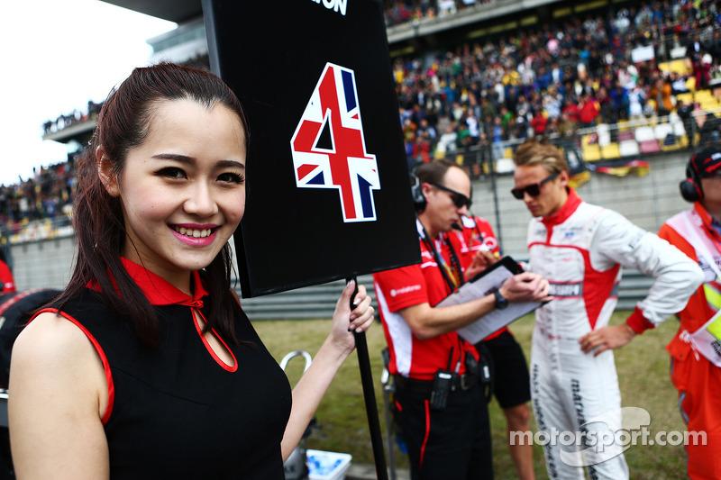 Max Chilton için grid kızı, Marussia F1 Takımı.