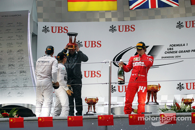 Fernando Alonso, Ferrari celebrates his third position on the podium