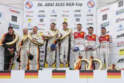 Race winners Nicky Catsburg, Dirk Adorf, second place Kevin Estre, Rudi Adams, Arno Klasen, third place Marc Basseng, Marcel Fässler, Frank Stippler