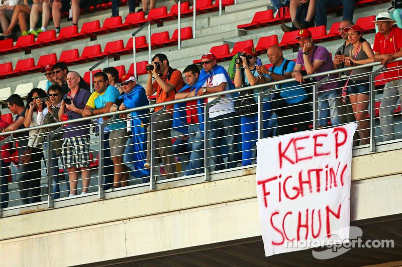 A banner of support for Michael Schumacher, in the grandstands
