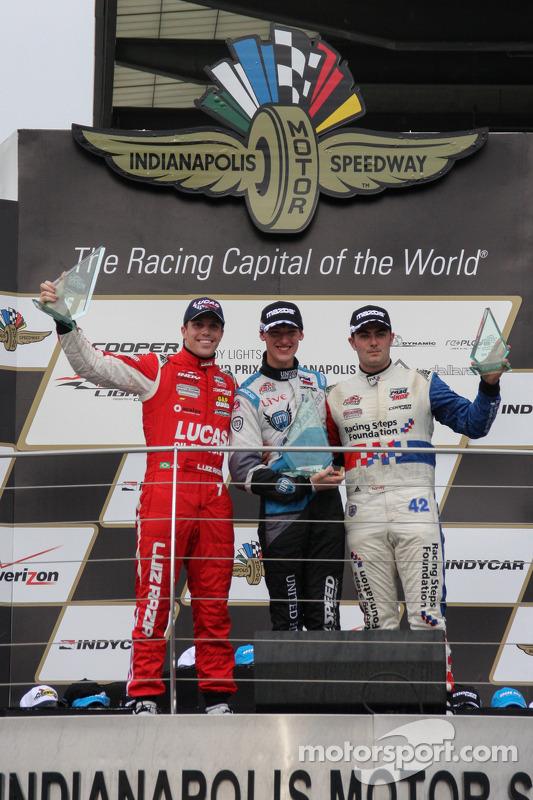 Pódio: vencedor da corrida Matthew Brabham, o segundo lugar Luiz Razia, e o terceiro lugar Jack Harv