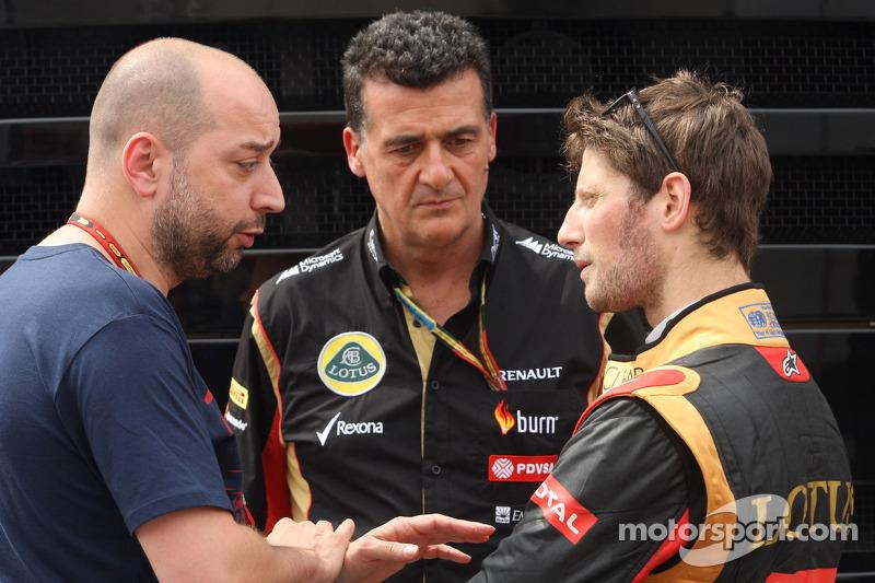 (L to R): Gerard Lopez, Lotus F1 Team Principal with Federico Gastaldi, Lotus F1 Team Deputy Team Pr