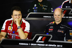 Nicholas Tombazis, Ferrari Chief Designer and Adrian Newey, Red Bull Racing Chief Technical Officer in the Press Conference