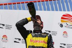 Sébastien Bourdais, Dale Coyne Racing with Vasser-Sullivan Honda celebrates with champagne on the podium