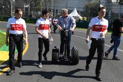 Charles Leclerc, Alfa Romeo Sauber F1 Team walks the track and talks with Johnny Herbert, Sky TV