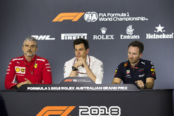 Maurizio Arrivabene, Ferrari Team Principal, Toto Wolff, Mercedes AMG F1 Director of Motorsport and Christian Horner, Red Bull Racing Team Principal in the Press Conference