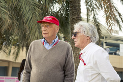 Niki Lauda, Mercedes AMG F1 Non-Executive Chairman and Bernie Ecclestone