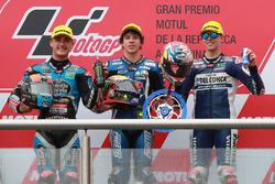 Second place Aron Canet, Estrella Galicia 0,0, Race winner Marco Bezzecchi, Prustel GP, Third place Fabio Di Giannantonio, Del Conca Gresini Racing Moto3