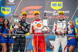 Podium: race winner Scott McLaughlin, DJR Team Penske Ford, second place Jamie Whincup, Triple Eight Race Engineering Holden, third place Rick Kelly, Nissan Motorsport