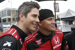 Arie Luyendyk Jr. and Channing Tatum prepare for their pre-race ride in the Honda Fastest seat in Sports 2-seat IndyCar