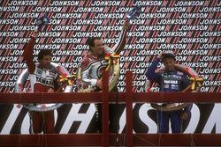Podium: winner Randy Mamola, second place Eddie Lawson, third place Christian Sarron