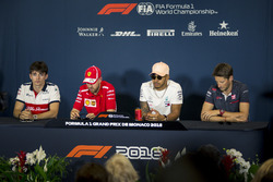 Charles Leclerc, Sauber, Sebastian Vettel, Ferrari, Lewis Hamilton, Mercedes-AMG F1 and Romain Grosjean, Haas F1 in the Press Conference