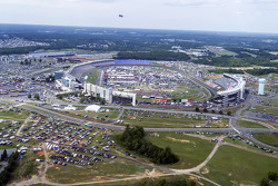 The view of Charlotte Motor Speedway from Kurt Busch's helicopter