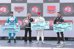 Polesitter Ed Carpenter, second place James Hinchcliffe, third place Will Power