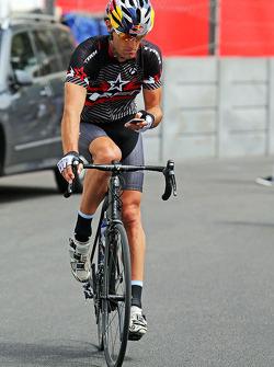 Mark Webber, WEC Porsche Team, cycles through Monaco