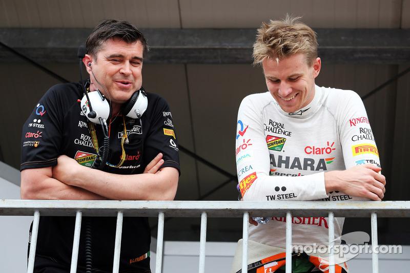 (L to R): Bradley Joyce, Sahara Force India F1 Race Engineer with Daniel Juncadella, Sahara Force In