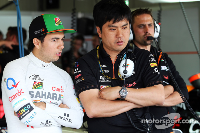 (L to R): Sergio Perez, Sahara Force India F1 with Akio Haga, Sahara Force India F1 Team Chief Designer