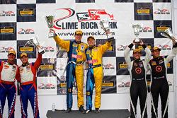 CTSCC GS Class podium: race winners Matt Plumb, Nick Longhi, second place Andy Lally, Matt Bell, third place Kyle Gimple, Ryan Eversley