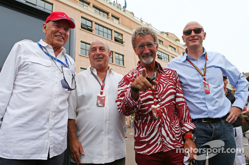 (L to R): Peter Brabeck-Letmathe, Formula One Chairman with Sir Philip Green, Arcadia Group CEO; Eddie Jordan, BBC Television Pundit; and Donald Mackenzie, CVC Capital Partners Managing Partner, Co Head of Global Investments