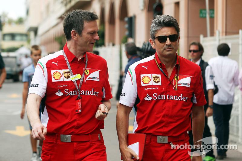 (L to R): James Allison, Ferrari Chassis Technical Director with Marco Mattiacci, Ferrari Team Principal