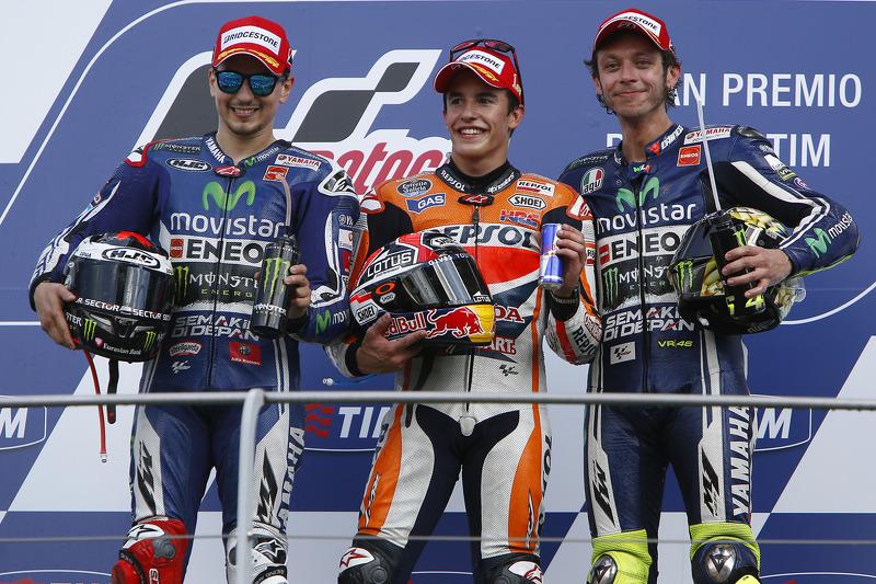 2014: 1. Marc Marquez, 2. Jorge Lorenzo, 3. Valentino Rossi